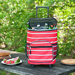 Red Stripes Nautical Rolling Cooler
