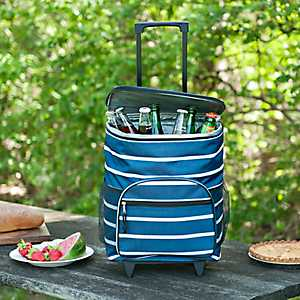 Blue Stripes Nautical Rolling Cooler