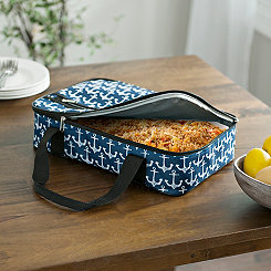 White Anchors Nautical Casserole Tote