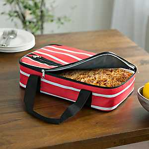 Red Stripes Nautical Casserole Tote