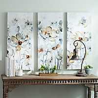 Watercolor Flowers Canvas Art Prints, Set of 3