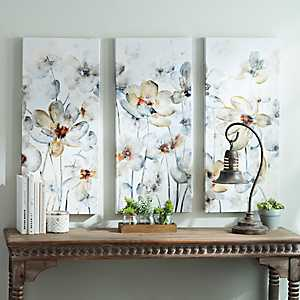 Watercolor Flowers Canvas Art Prints, Set of 3