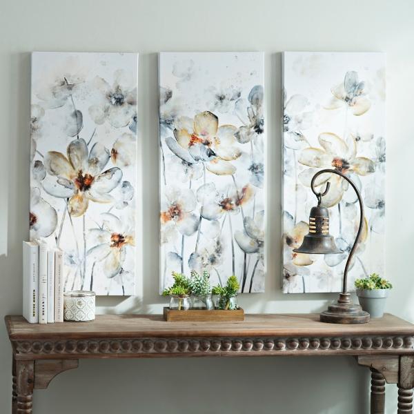 watercolor flowers canvas art prints set of 3
