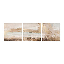 Golden Abstract Canvas Art Prints, Set of 3