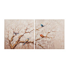 Birds and Blooms Canvas Art Prints, Set of 2
