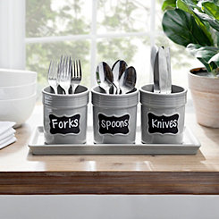Gray Chalkboard Utensil Crocks on Tray, Set of 3