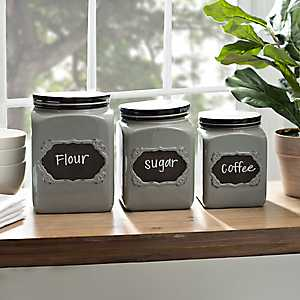Gray Chalkboard Kitchen Canisters, Set of 3
