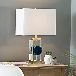 Blue Agate Crystal Table Lamp