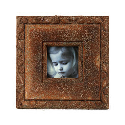 Distressed Rust Brown Picture Frame, 2.25x2.25