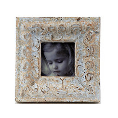 Distressed Ivory Stone Picture Frame, 2.25x2.25