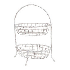 Antiqued White Basket 2-Tier Stand