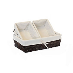 Brown Willow Storage Baskets with Liner, Set of 3