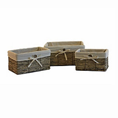 Gray Woven Maize Storage Baskets, Set of 3