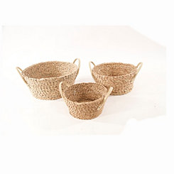 Round Tapered Rush Baskets, Set of 3
