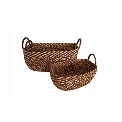 Two-Tone Hyacinth Baskets, Set of 3
