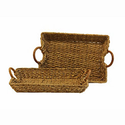 Woven Buri Rattan Trays, Set of 2