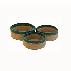 Round Jute Baskets with Turquoise Trim, Set of 3