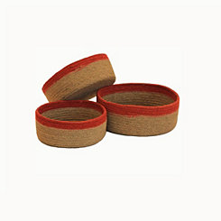 Round Jute Baskets with Red Trim, Set of 3