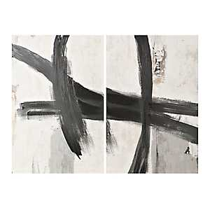 Black Brush Canvas Art Prints, Set of 2