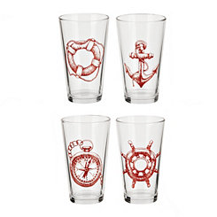 Red Lost At Sea Pint Glasses, Set of 4