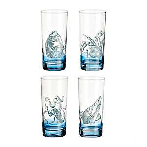 Blue Sea Creatures Pint Glasses, Set of 4