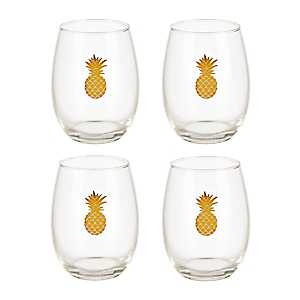 Gold Pineapple Wine Glasses, Set of 4