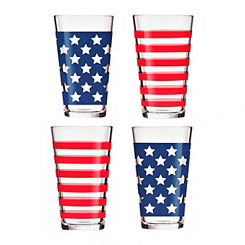 Stars & Stripes Pint Glasses, Set of 4
