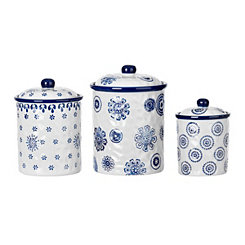 Blue Stamp Canisters, Set of 3