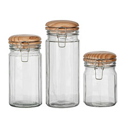 Wooden Lid Glass Canisters, Set of 3