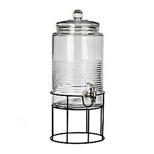 Covina Ribbed Glass Beverage Dispenser With Stand