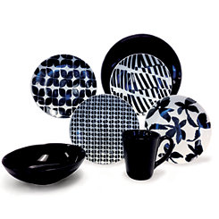 Black and White Pattern Mix 16-pc. Dinnerware Set