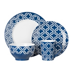 Navy Blue Quatrefoil 16-pc. Dinnerware Set