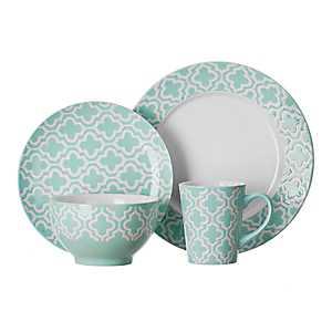 Aqua Quatrefoil 16-pc. Dinnerware Set