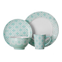 Aqua Quatrefoil 16-pc. Dinnerware Set