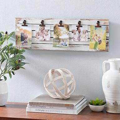 distressed cream plank clip collage frame grandkids white collage frame