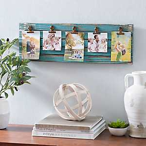 Distressed Turquoise Plank Clip Collage Frame