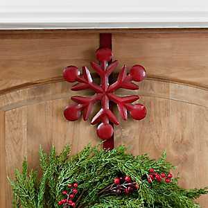 Red Snowflake Metal Wreath Hanger
