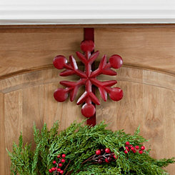 Red Snowflake Metal Wreath Hanger