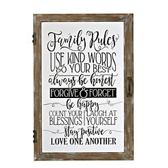 Family Rules Windowpane Plaque
