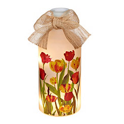 Floral Glass Bottle Tabletop Night Light