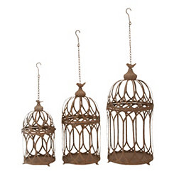 Metal Perched Bird Cage Planters, Set of 3