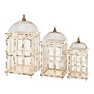 White Windowpane Birdcage Planters, Set of 3