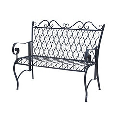 Black Metal Scrolled Outdoor Bench