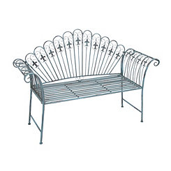 Teal Scalloped Fleur-de-Lis Outdoor Bench