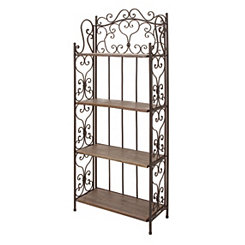Scrolled Rustic Brown Wooden Bakers Rack