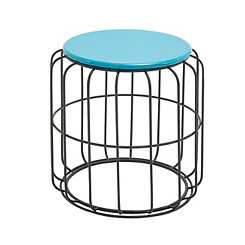 Blue Wire Cage Outdoor Accent Table