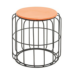 Orange Wire Cage Outdoor Accent Table
