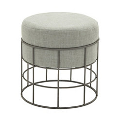 Gray Fabric Wire Cage Outdoor Accent Stool