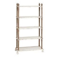 Finial Top White Wooden Shelf
