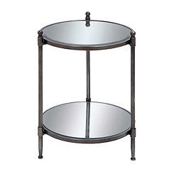 Silver Tri-Leg Mirror Accent Table